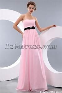 Simple Pink and Black Long Chiffon Bow Beach Bridesmaid ...