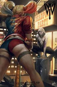 Harley Quinn Spider Gwen Showdown Art Print