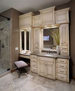 bathroom vanity with built in cabinets around mirrors With built in bathroom storage vanities
