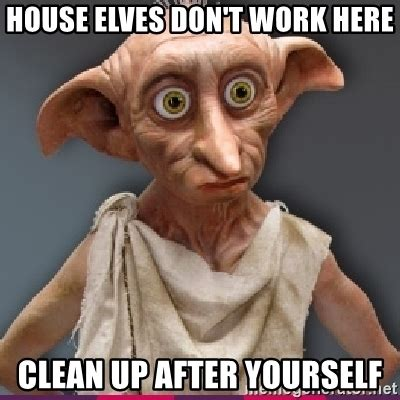 Clean Up Meme - house elves don t work here clean up after yourself dobby meme generator