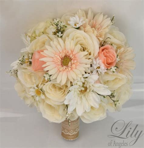 piece package silk flowers wedding bouquet artificial
