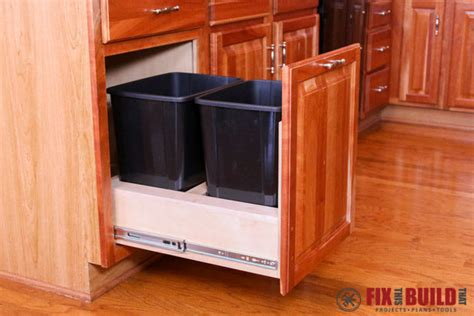 kitchen cabinet with trash bin diy pull out trash can fixthisbuildthat 7983