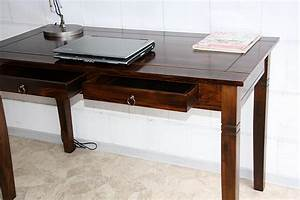 Schreibtisch Kiefer Massiv : casa schreibtisch braun nussbaum pappel massiv kolonial ~ Lateststills.com Haus und Dekorationen
