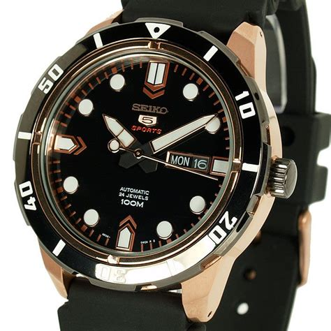 seiko 3128 rosegold black seiko 5 sports automatic black gold tone rubber