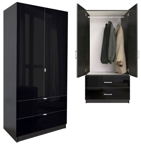 Black Wood Wardrobe Closet by Alta 2 Drawer Wardrobe Armoire Contempo Space