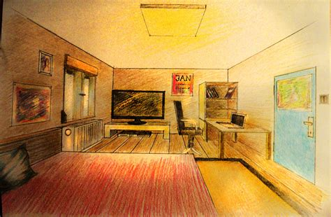 Perspective Drawing Of Bedroom