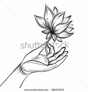 Lord Buddha's hand holding Lotus flower. Isolated vector ...