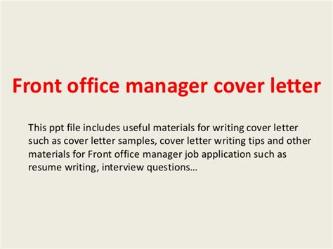 Cover Letter For Front Desk Manager by Front Office Manager Cover Letter