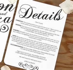 Wedding Invitation Info Cards