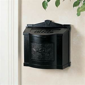 Gaines Mailboxes | Black Wall Mount Mailbox with Black ...