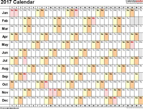 2017 Calendar Template Excel Excel Calendar Template 2017 E Commercewordpress