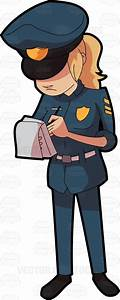 A Female Police Officer Writing Down A Ticket Cartoon ...