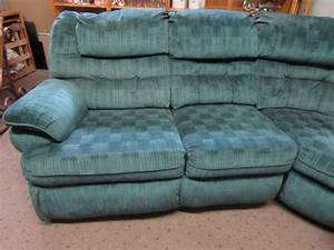 Lot detail large 3 piece lane sectional sofa for Lane leather sectional sleeper sofa