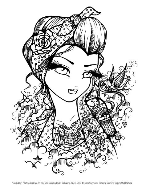 Tattoo Darlings FREE Sample coloring page! Rockabilly Girl by Hannah Lynn | Blank coloring pages