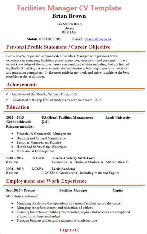 facilities management resume objective facilities manager cv template 1
