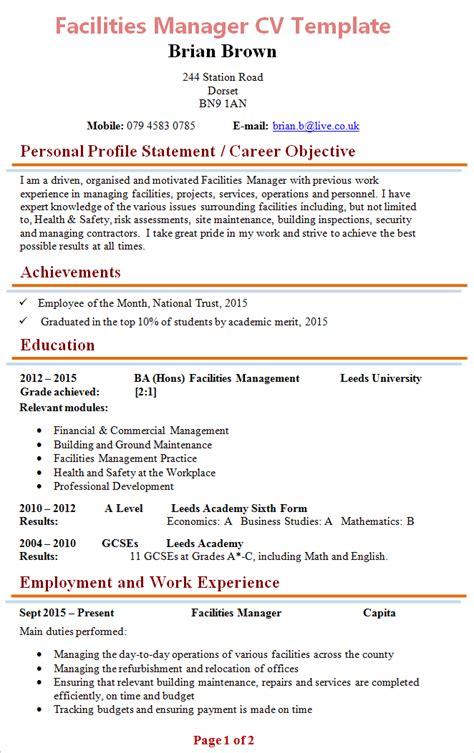 facilities manager cv template 1