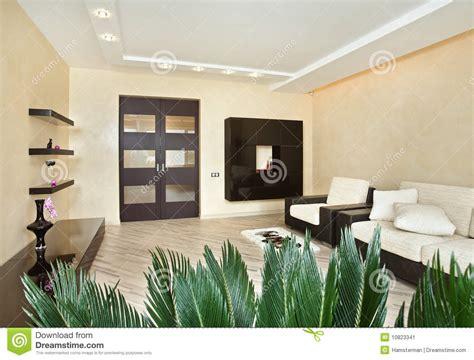 modern drawing room interior  warm tones stock image