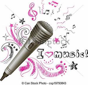 EPS Vector of Music doodle microphone - Music doodle ...