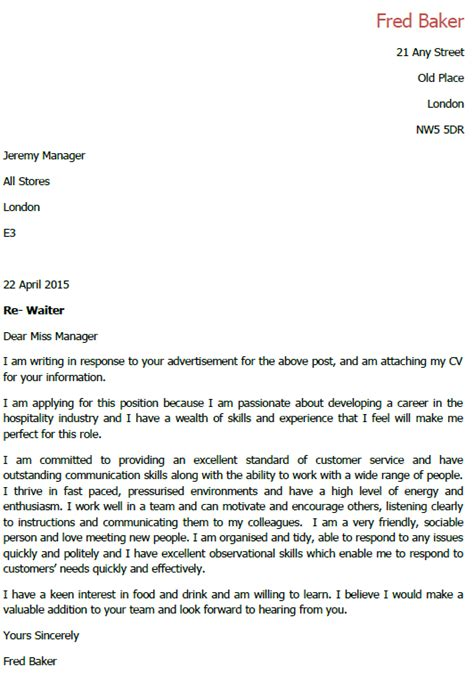 Cover Letter Waiter Without Experience by Application Letter For Waiter Lettercv