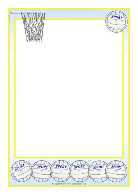 Netball-Themed A4 Page Borders (SB10058) - SparkleBox
