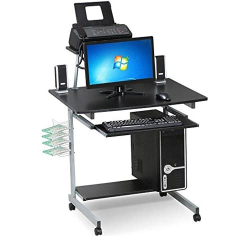 laptop desk with printer shelf go2buy small spaces computer desk with keyboard tray
