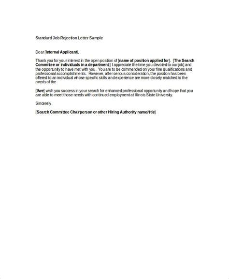 job rejection letters  sample  format