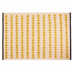 Tapis Jaune Maison Du Monde : tapis en coton cru motifs jaunes 180x120cm naomi ~ Zukunftsfamilie.com Idées de Décoration