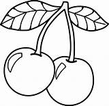 Cherry Coloring Pages Sheets Fruits Medium sketch template