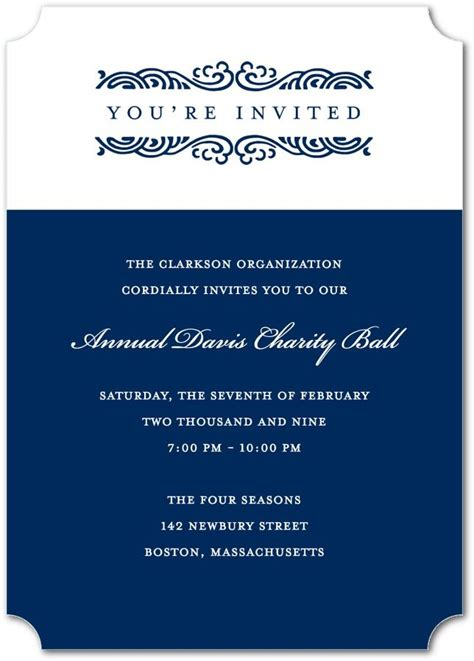 rolling waves corporate event invitations  navy