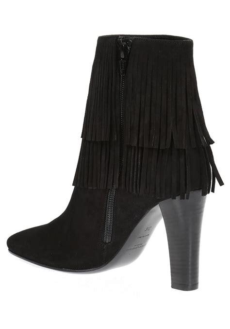 saint laurent lily black suede heels ankle boots italian boutique