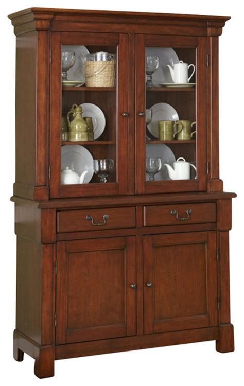 Cherry Buffet And Hutch - home styles aspen buffet and hutch in rustic cherry