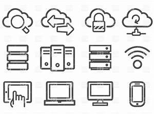 Cloud computing and computer network icon set Royalty Free ...
