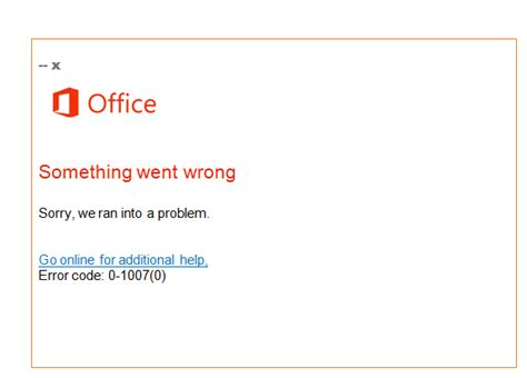 Solution For Office Error Code 01007(0) Live Assist