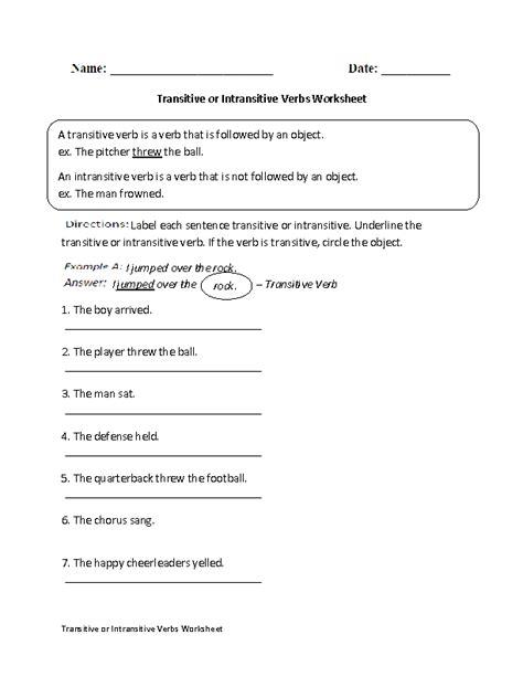transitive or intransitive verbs worksheet