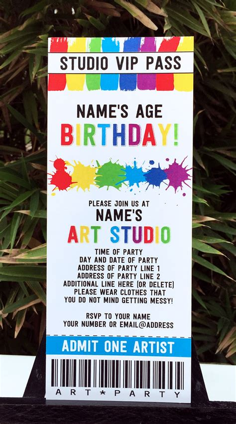 art birthday party theme printables paint party