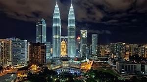 Wallpaper night, skyscrapers, Malaysia, Kuala Lumpur ...