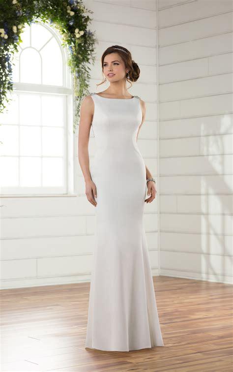 Boat Neck V Back Dress by Wedding Dresses Boat Neck Wedding Dress With V Back