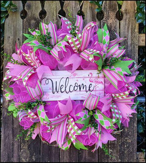Summer Flamingo Welcome Wreath, Pink Flamingo Decor ...