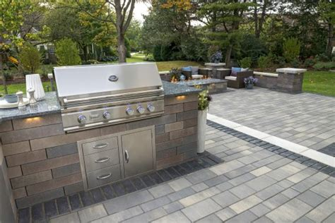 unilock grill island concrete pavers for easy to clean outdoor kitchens in