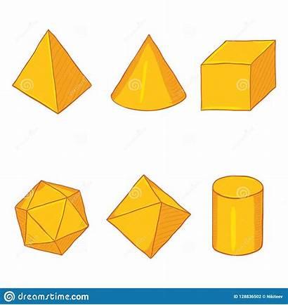Shapes Geometry Cartoon Golden Paper Fumetto Dorate