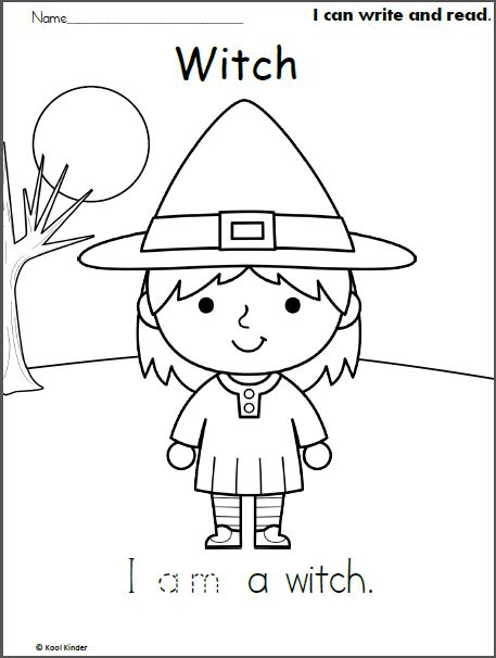 halloween witch picture write read  color