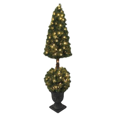 stylish topiary artificial christmas tree with white led