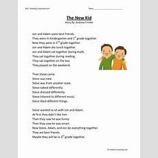 Reading Comprehension Worksheet  The New Kid