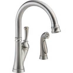kitchen faucet spray shop delta savile stainless 1 handle high arc kitchen faucet with side spray at lowes com