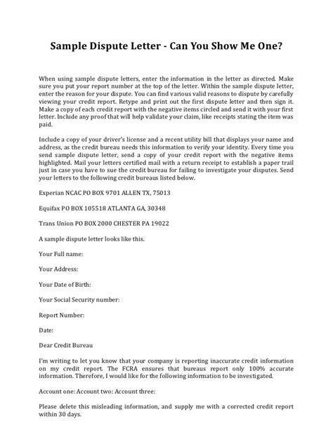 sample credit dispute letter template credit repair