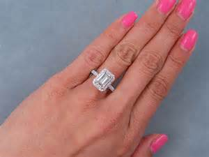 shaped engagement ring white gold 2 54 ctw emerald cut engagement ring h vs1