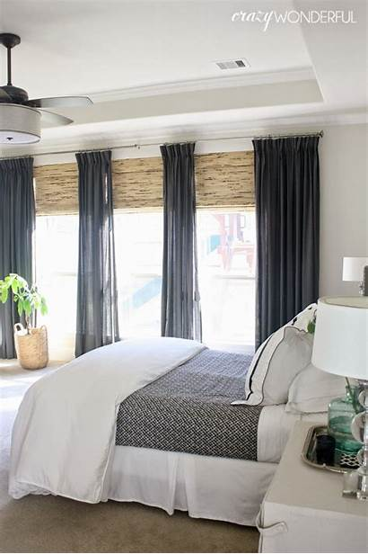 Bedroom Window Treatments Master Curtains Gray Length