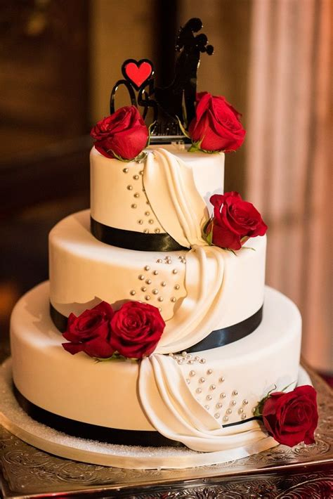 Three Tier Round White Cake With A Black Sillouette Cake