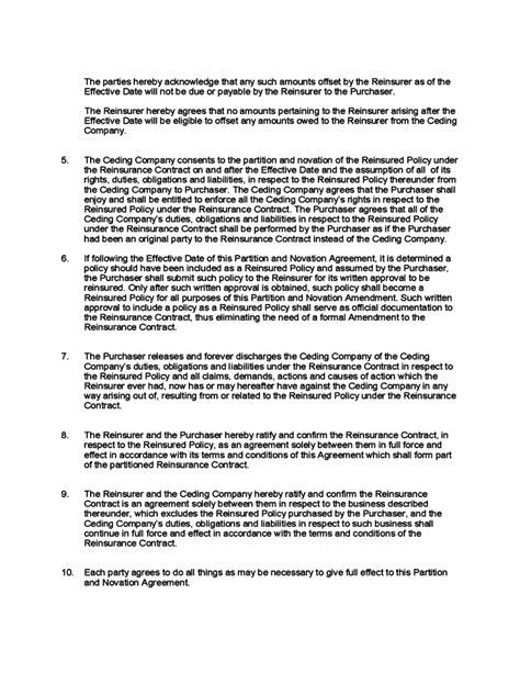 partition  novation agreement