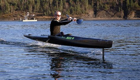 Man Powered Hydrofoil Boat by The Flyak A Flying Kayak